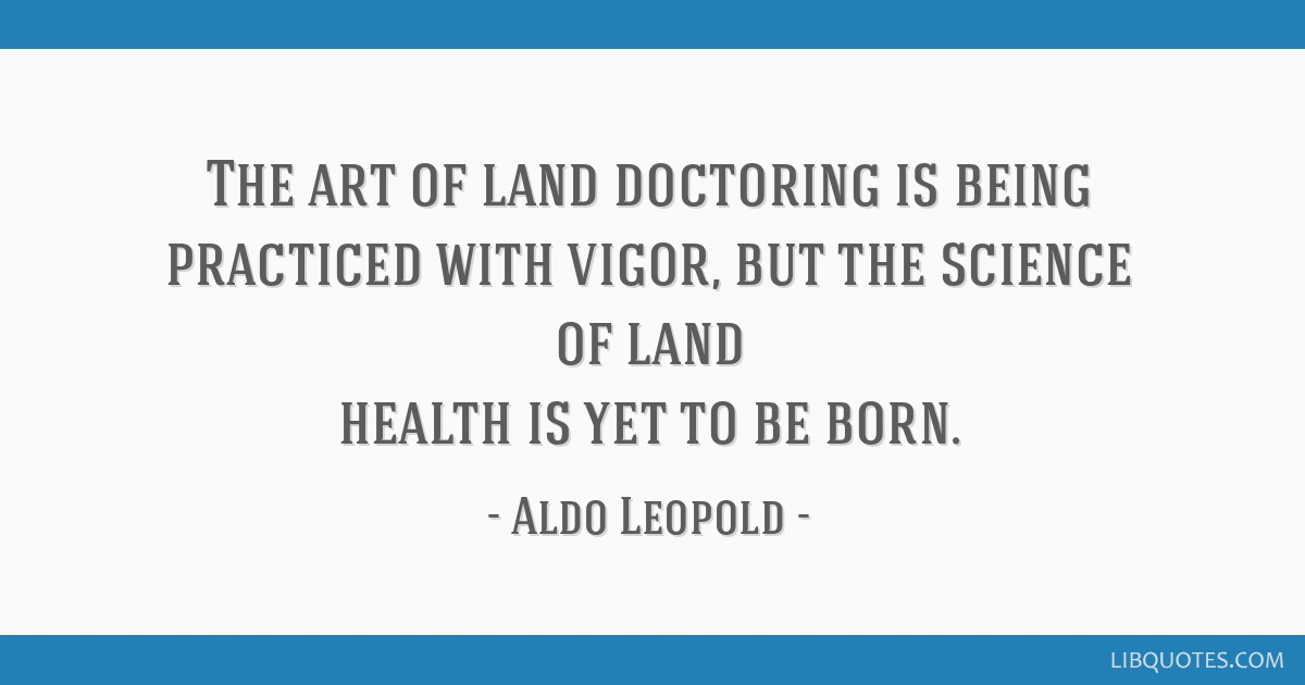 The art of land doctoring is being practiced with vigor, but the science of land health is yet to be born.