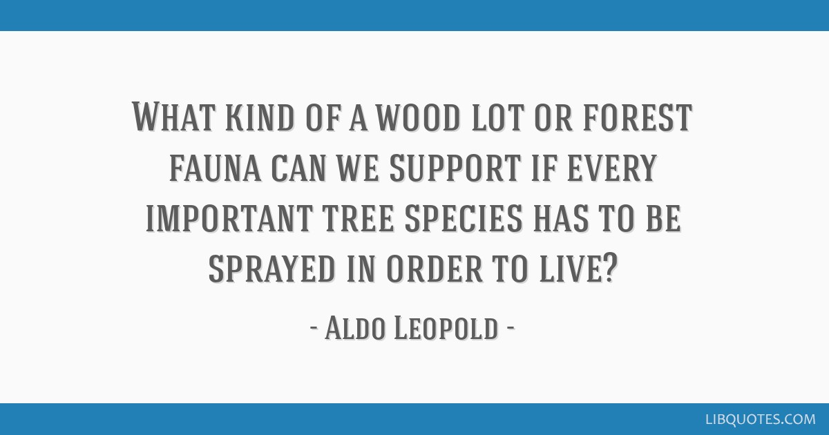 What kind of a wood lot or forest fauna can we support if every important tree species has to be sprayed in order to live?