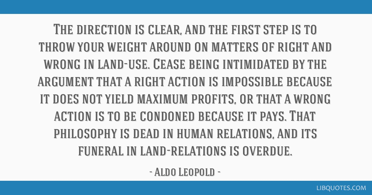 The direction is clear, and the first step is to throw your weight around on matters of right and wrong in land-use. Cease being intimidated by the...