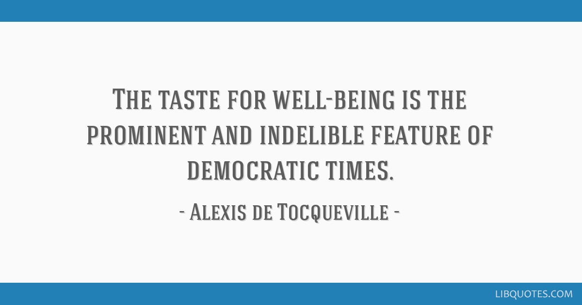 The taste for well-being is the prominent and indelible feature of democratic times.