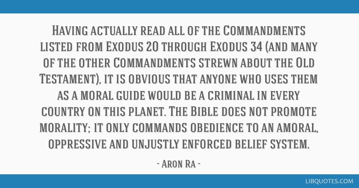 Having actually read all of the Commandments listed from Exodus 20 through Exodus 34 (and many of the other Commandments strewn about the Old...