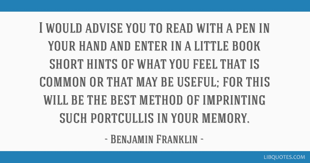 I would advise you to read with a pen in your hand and enter in a little book short hints of what you feel that is common or that may be useful; for...