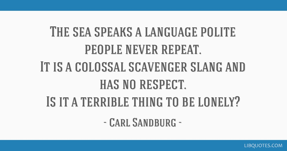 The sea speaks a language polite people never repeat. It is a colossal scavenger slang and has no respect. Is it a terrible thing to be lonely?
