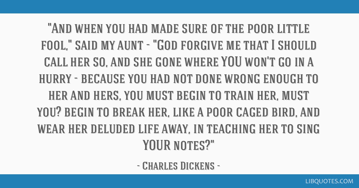 And when you had made sure of the poor little fool, said my aunt - God forgive me that I should call her so, and she gone where YOU won't go in a...