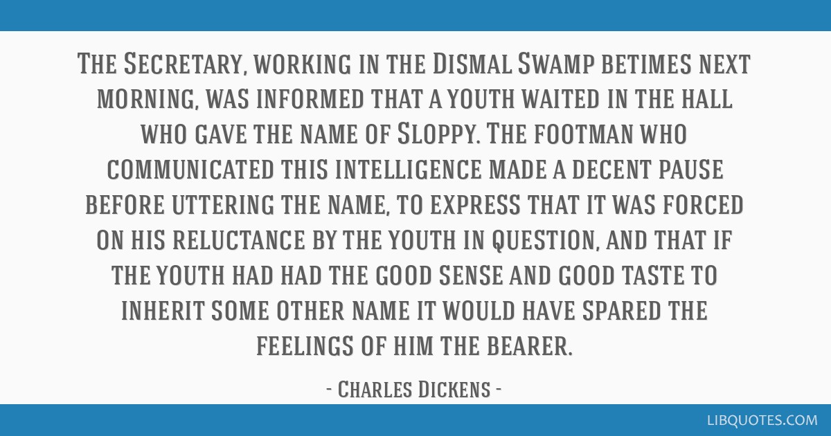 The Secretary, working in the Dismal Swamp betimes next morning, was informed that a youth waited in the hall who gave the name of Sloppy. The...