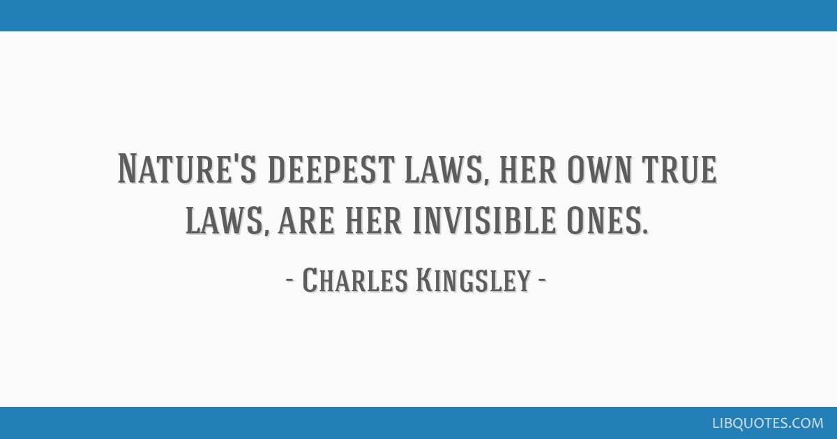 Nature's deepest laws, her own true laws, are her invisible ones.