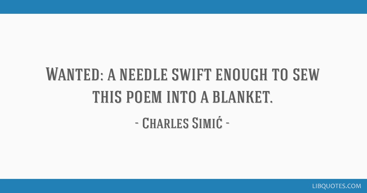 Wanted: a needle swift enough to sew this poem into a blanket.