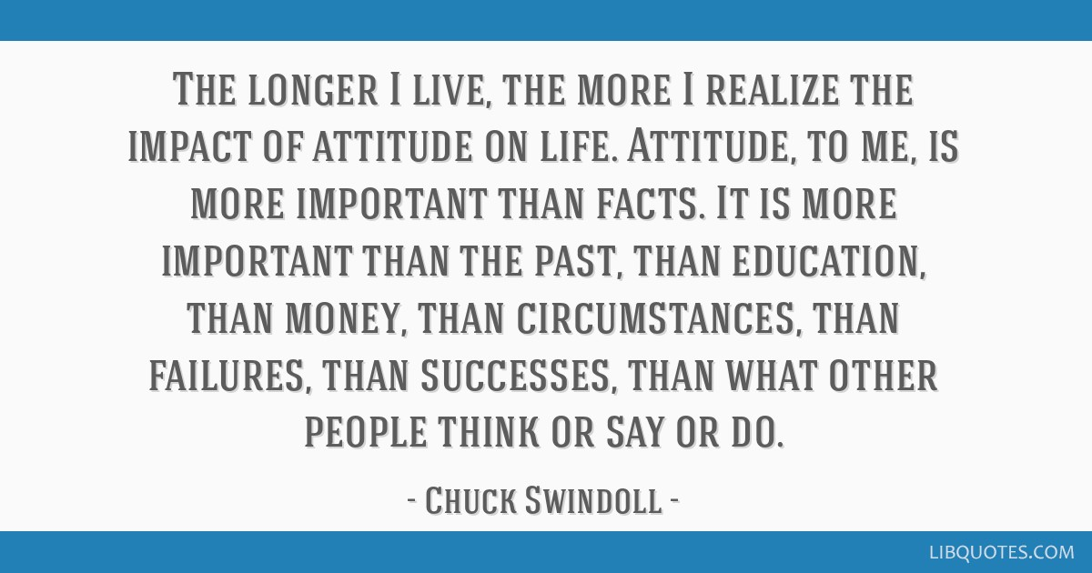 The longer I live, the more I realize the impact of attitude on life. Attitude, to me, is more important than facts. It is more important than the...
