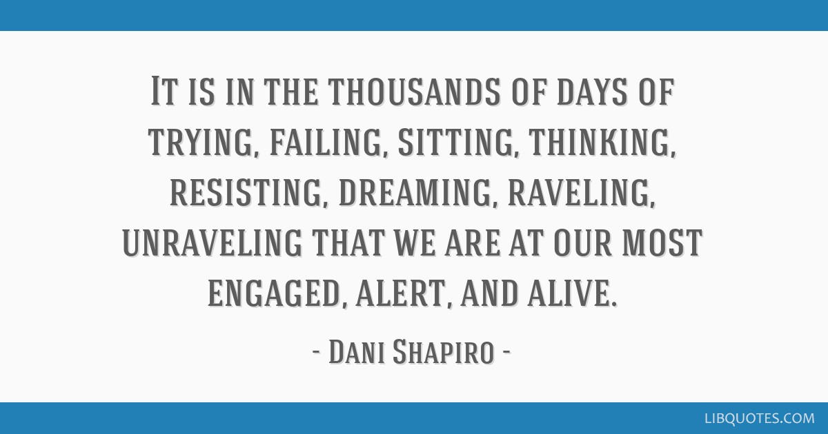 It Is In The Thousands Of Days Of Trying, Failing, Sitting
