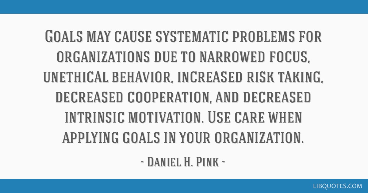 Why Risk Taking Behavior Increases >> Goals May Cause Systematic Problems For Organizations Due To