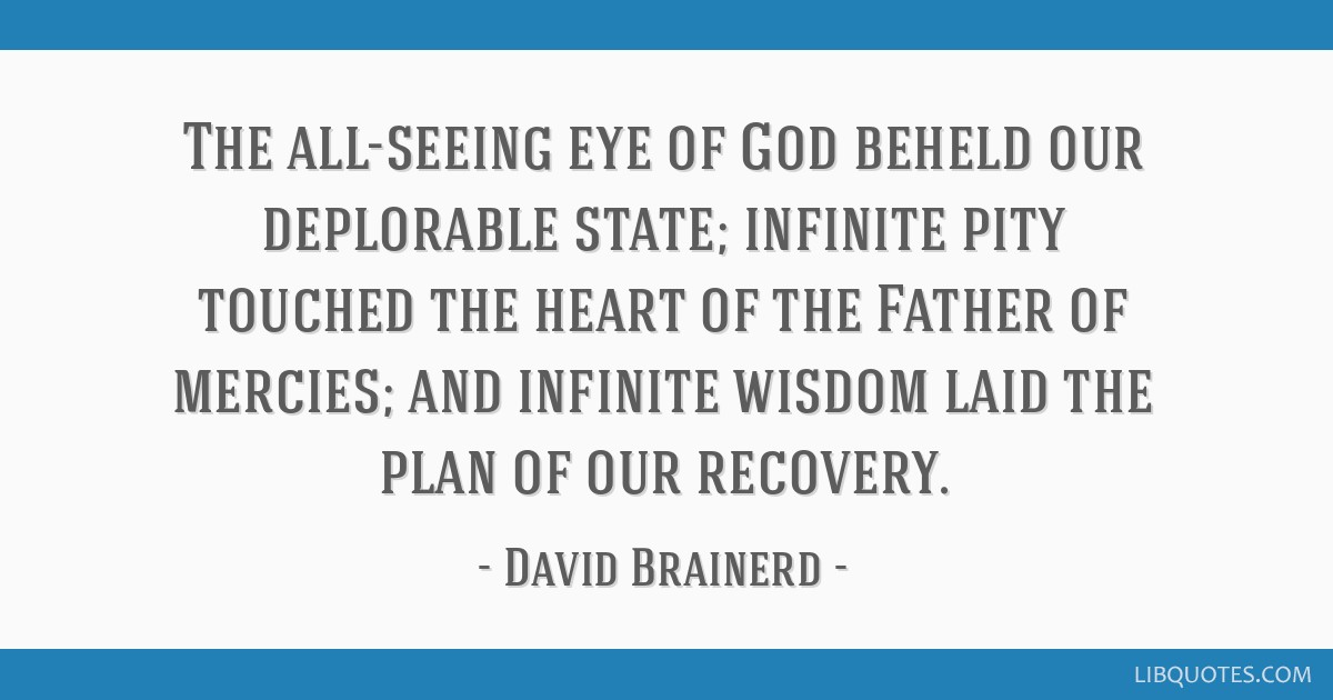 The all-seeing eye of God beheld our deplorable state; infinite pity touched the heart of the Father of mercies; and infinite wisdom laid the plan of ...