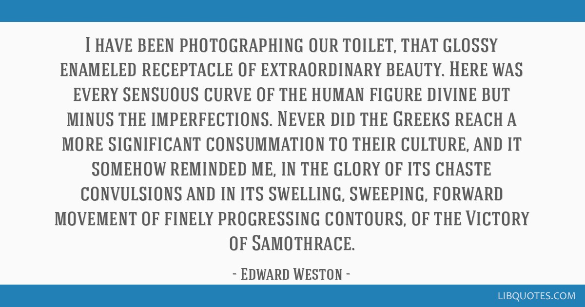 I have been photographing our toilet, that glossy enameled receptacle of extraordinary beauty. Here was every sensuous curve of the human figure...