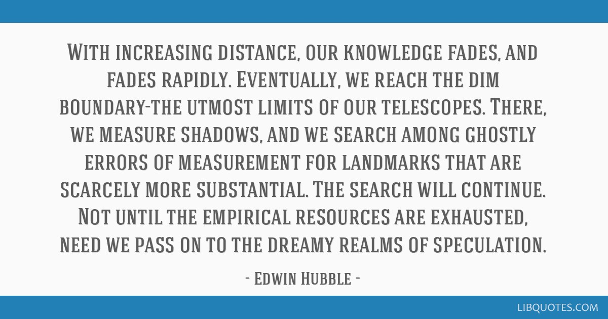 With increasing distance, our knowledge fades, and fades rapidly. Eventually, we reach the dim boundary-the utmost limits of our telescopes. There,...