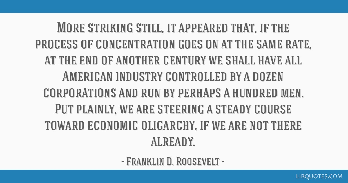 More striking still, it appeared that, if the process of concentration goes on at the same rate, at the end of another century we shall have all...