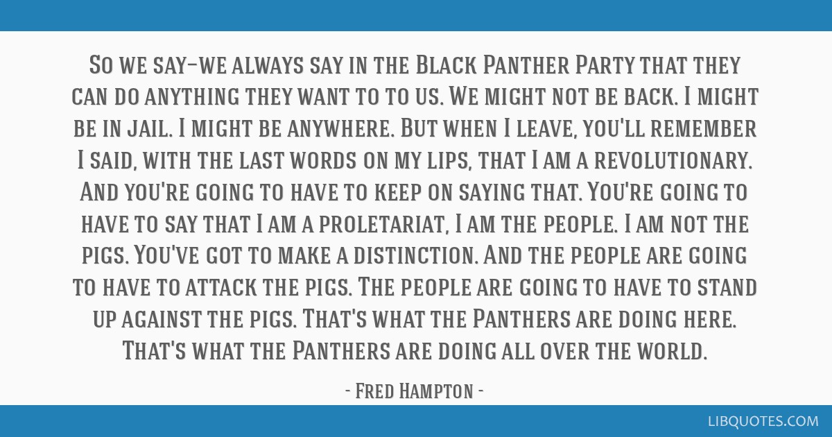 So we say—we always say in the Black Panther Party that they can do anything they want to to us. We might not be back. I might be in jail. I might...