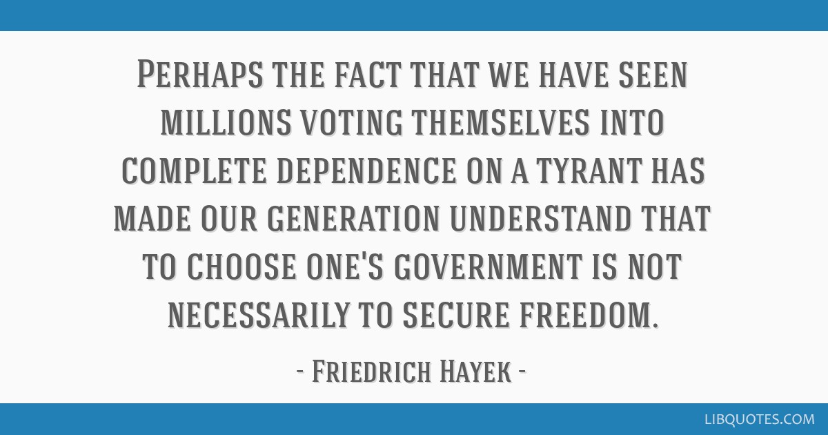 Perhaps the fact that we have seen millions voting themselves into complete dependence on a tyrant has made our generation understand that to choose...