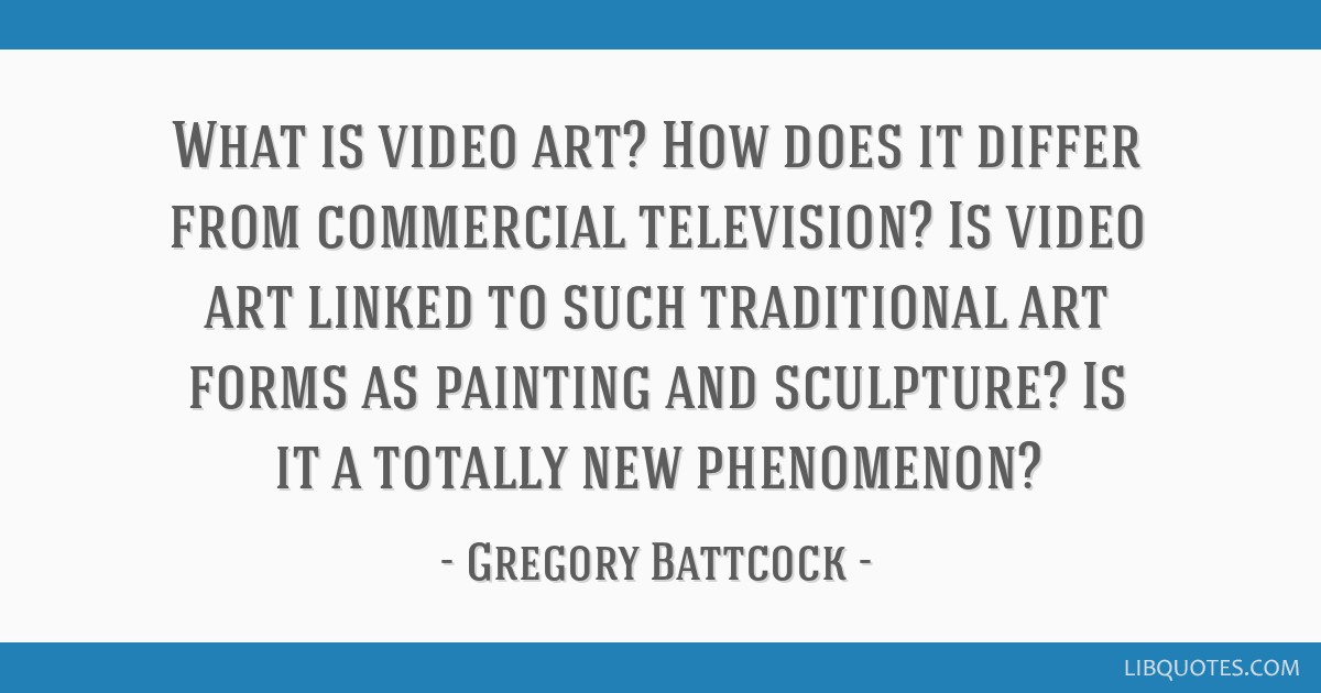 What is video art? How does it differ from commercial television? Is video art linked to such traditional art forms as painting and sculpture? Is it...