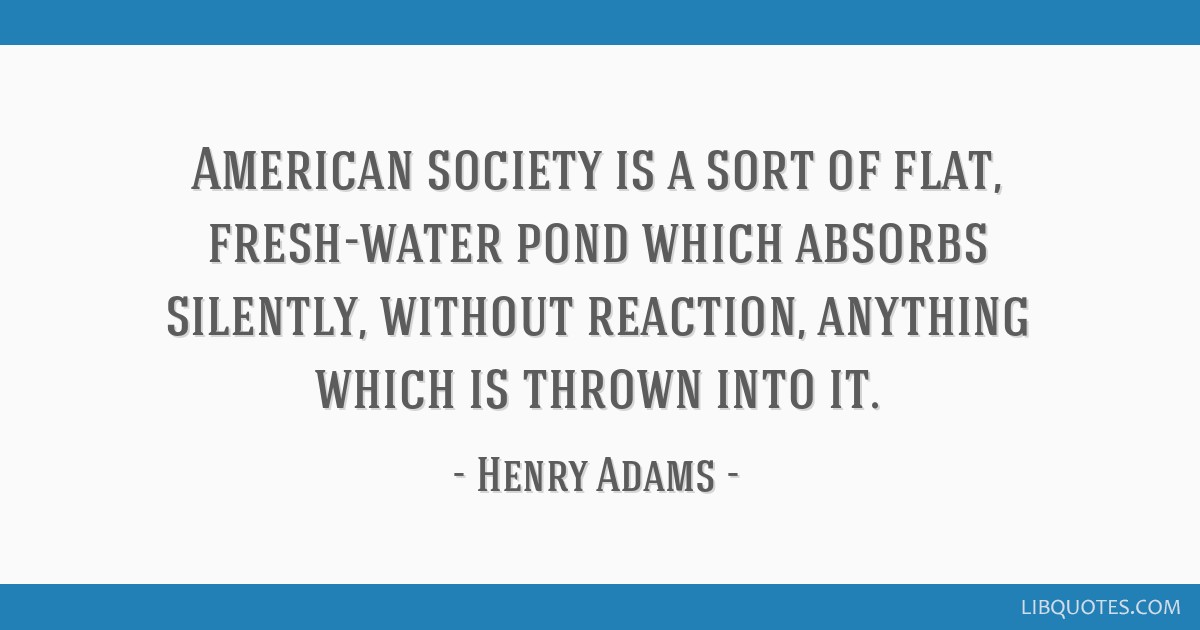 American society is a sort of flat, fresh-water pond which absorbs silently, without reaction, anything which is thrown into it.