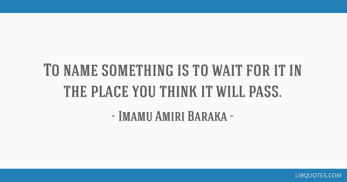 To name something is to wait for it in the place you think it will pass.