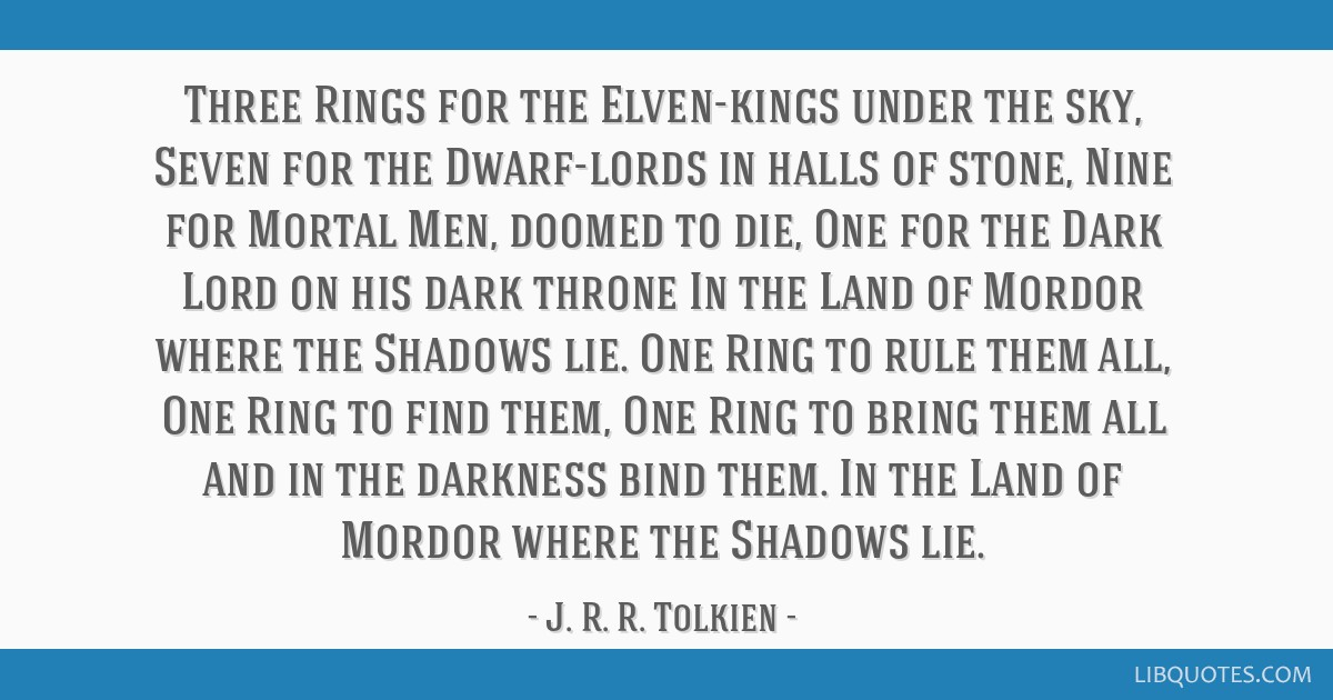 Three Rings for the Elven-kings under the sky, Seven for the Dwarf-lords in halls of stone, Nine for Mortal Men, doomed to die, One for the Dark Lord ...