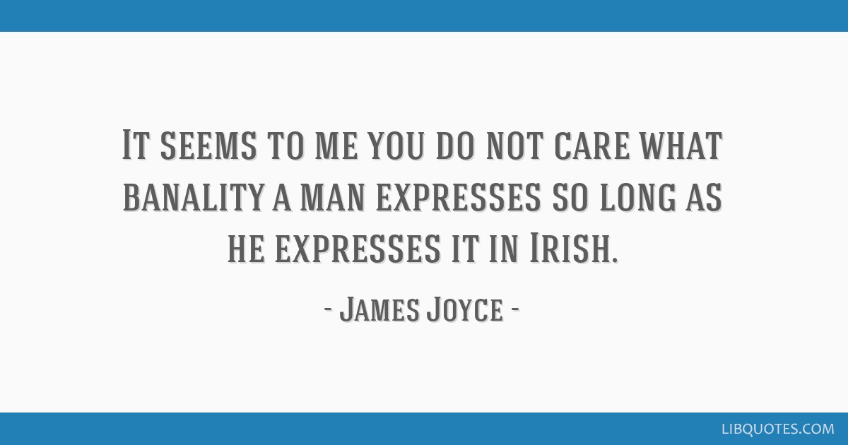 It seems to me you do not care what banality a man expresses so long as he expresses it in Irish.