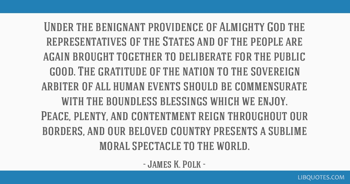 Under the benignant providence of Almighty God the representatives of the States and of the people are again brought together to deliberate for the...