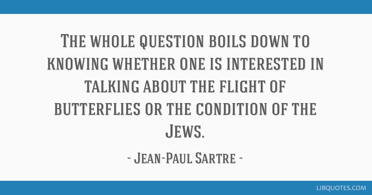 The whole question boils down to knowing whether one is interested in talking about the flight of butterflies or the condition of the Jews.