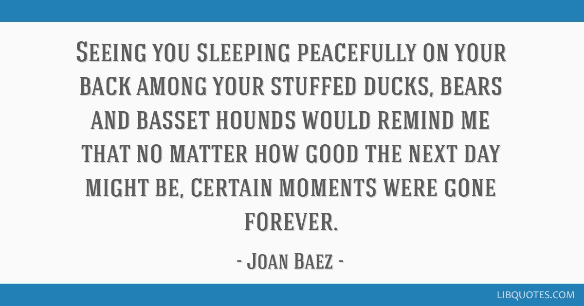 Seeing you sleeping peacefully on your back among your stuffed ducks, bears and basset hounds would remind me that no matter how good the next day...