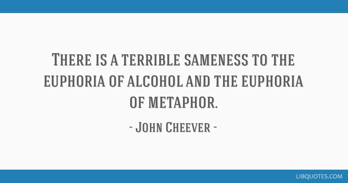 There is a terrible sameness to the euphoria of alcohol and the euphoria of metaphor.