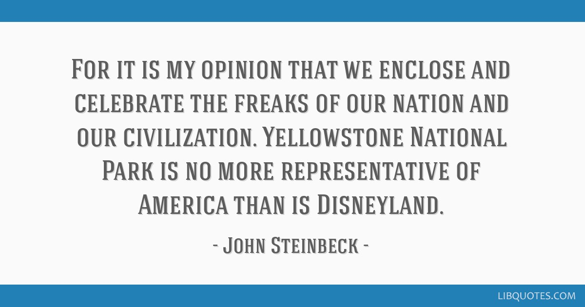 For it is my opinion that we enclose and celebrate the freaks of our nation and our civilization. Yellowstone National Park is no more representative ...
