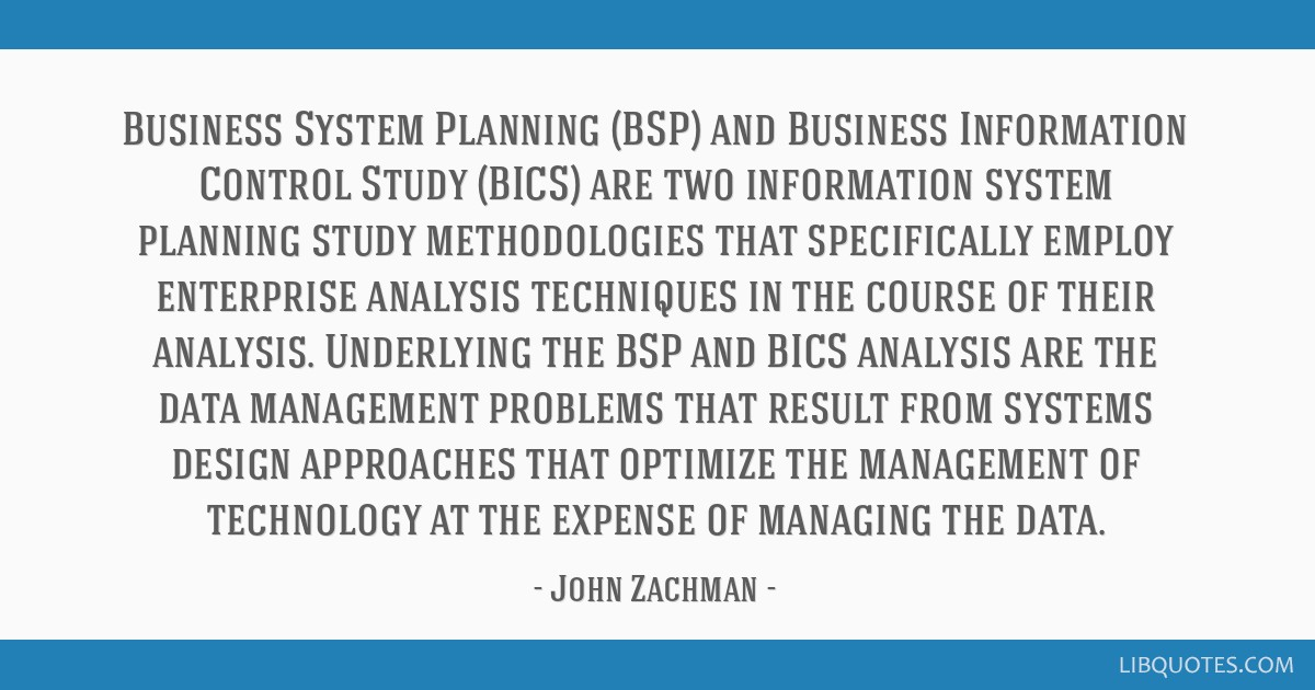 Business System Planning (BSP) and Business Information Control