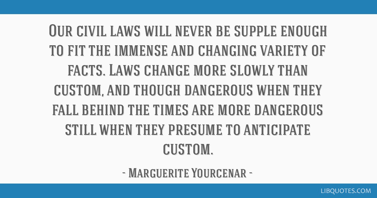 Our civil laws will never be supple enough to fit the immense and changing variety of facts. Laws change more slowly than custom, and though...