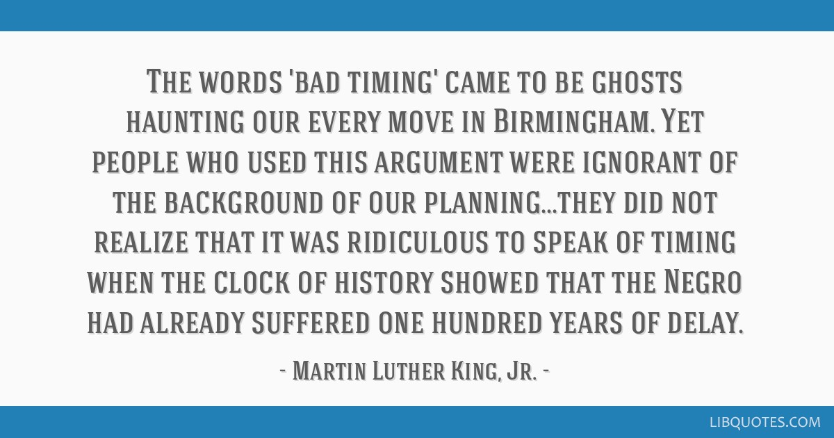 The words 'bad timing' came to be ghosts haunting our every move in Birmingham. Yet people who used this argument were ignorant of the background of...