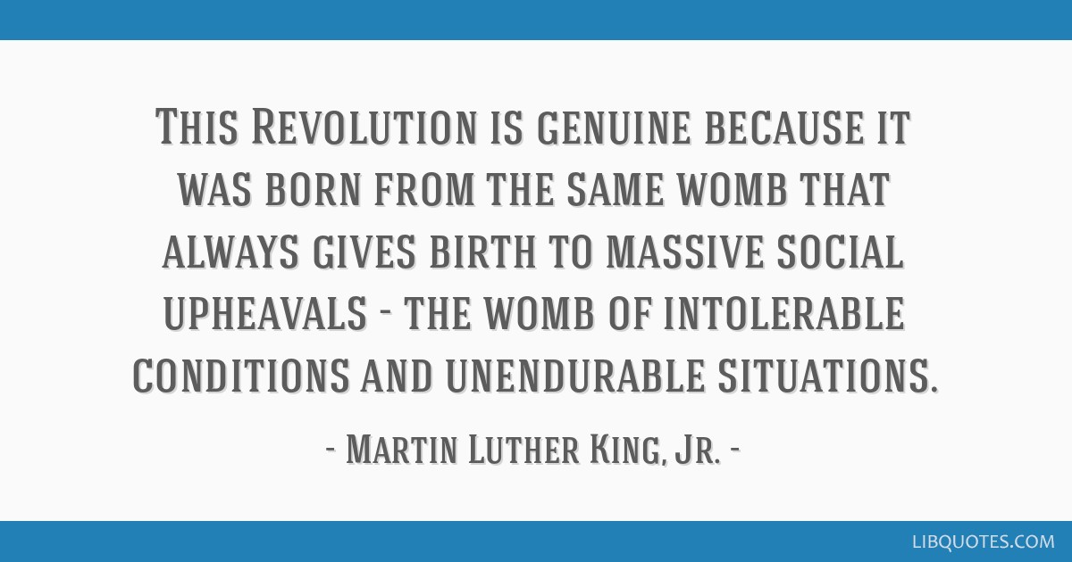 This Revolution is genuine because it was born from the same womb that always gives birth to massive social upheavals - the womb of intolerable...
