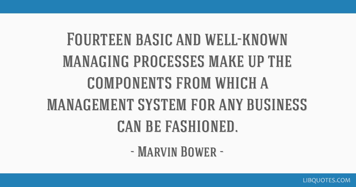 Fourteen basic and well-known managing processes make up the