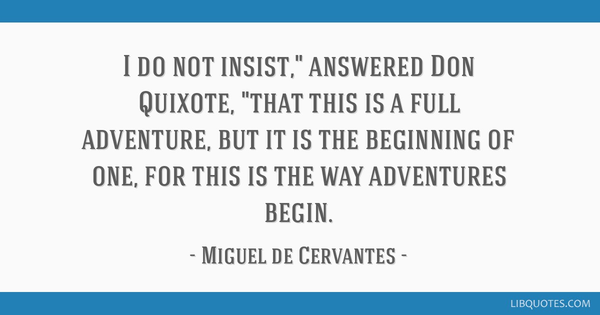 Don Quixote Quotes | I Do Not Insist Answered Don Quixote That This Is A Full Adventure