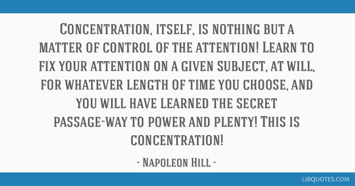 Success Principle # 12: Concentration