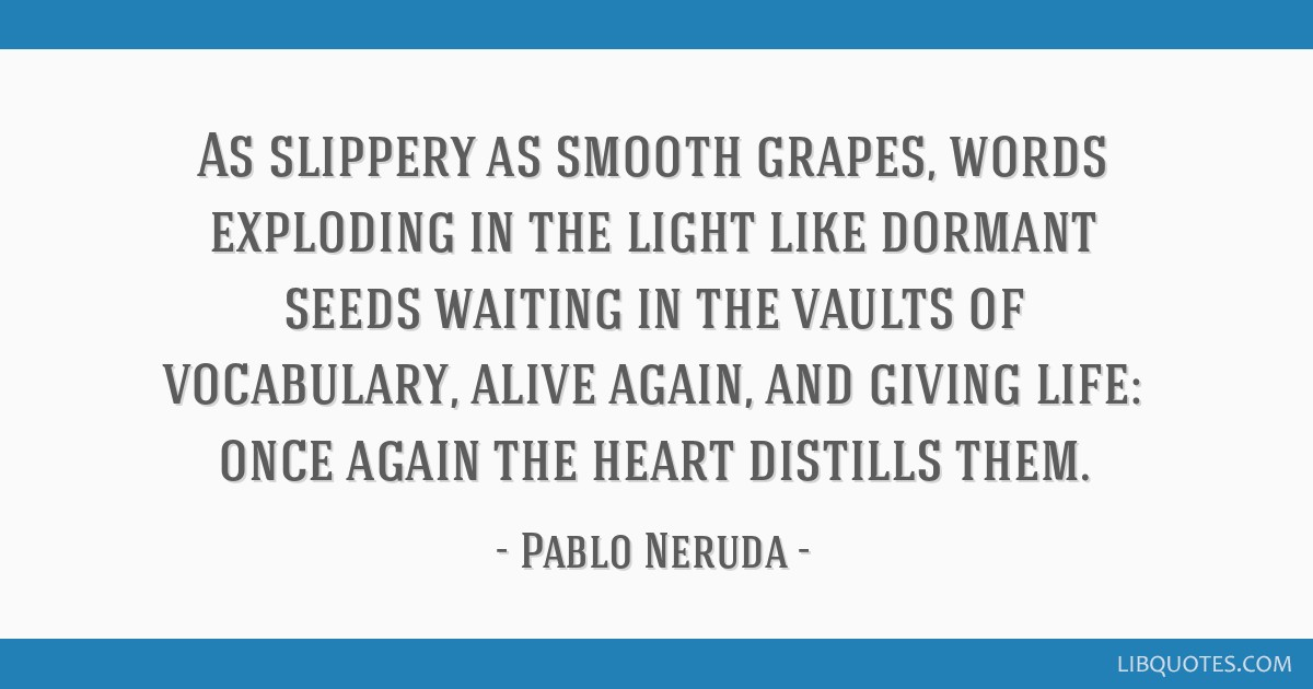 As slippery as smooth grapes, words exploding in the light like dormant seeds waiting in the vaults of vocabulary, alive again, and giving life: once ...
