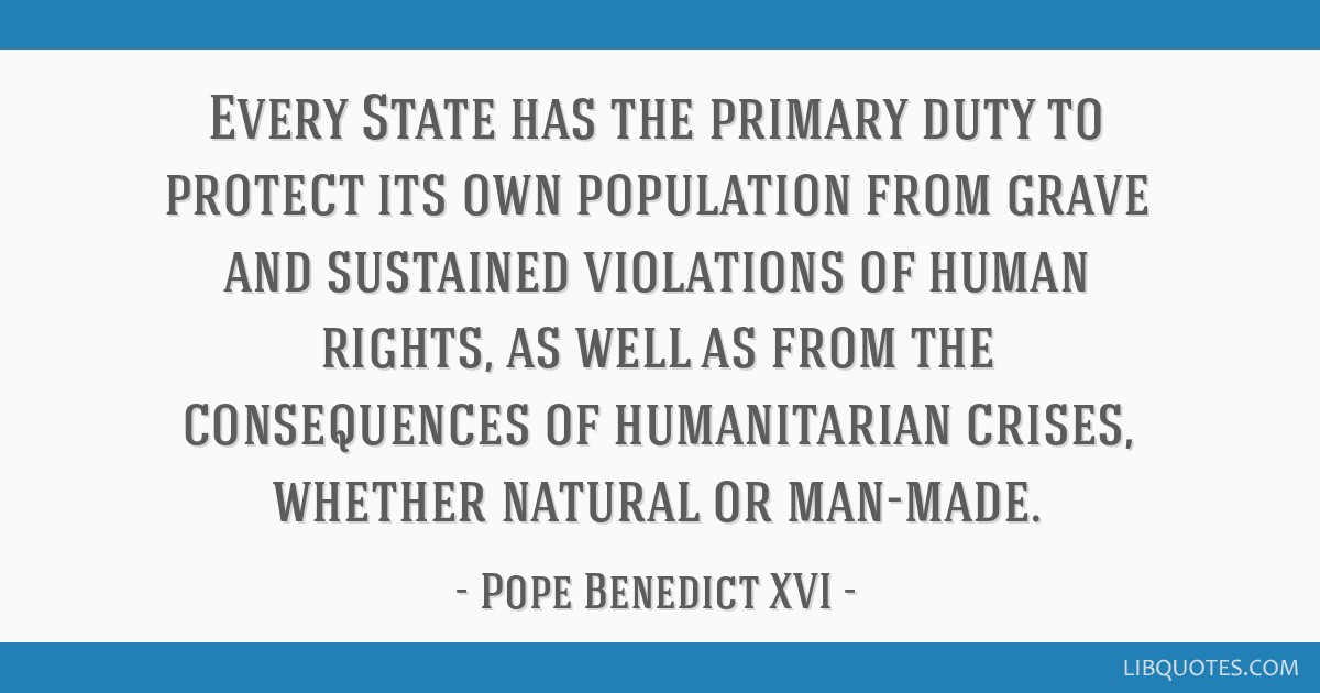 Every State has the primary duty to protect its own population from grave and sustained violations of human rights, as well as from the consequences...