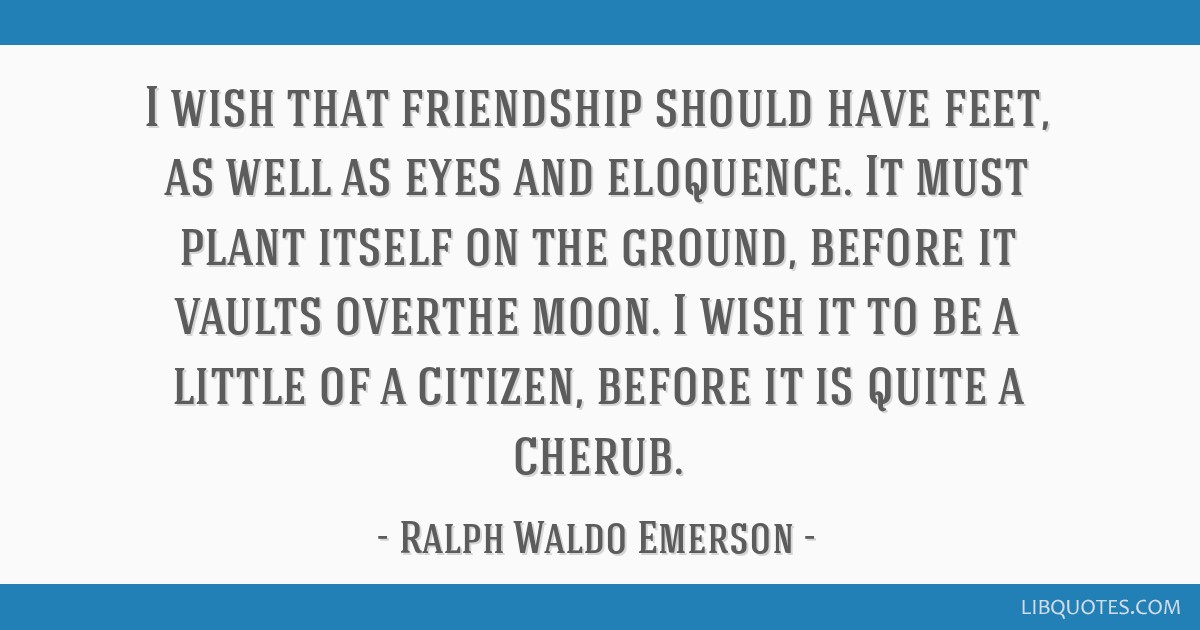 I wish that friendship should have feet, as well as eyes and eloquence. It must plant itself on the ground, before it vaults overthe moon. I wish it...