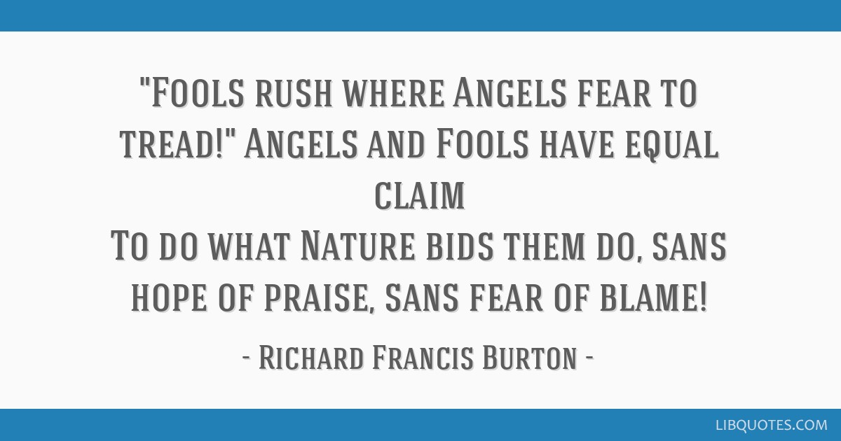 Fools Rush Where Angels Fear To Tread Angels And Fools Have Equal