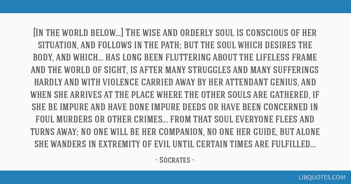 [In the world below...] The wise and orderly soul is conscious of her situation, and follows in the path; but the soul which desires the body, and...