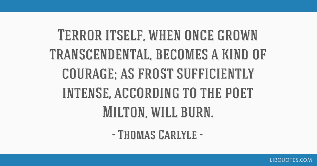 Terror itself, when once grown transcendental, becomes a kind of courage; as frost sufficiently intense, according to the poet Milton, will burn.