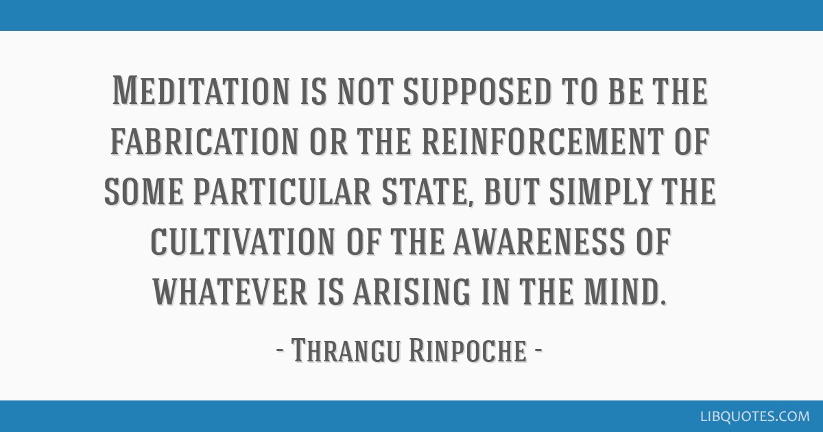 Meditation is not supposed to be the fabrication or the reinforcement of some particular state, but simply the cultivation of the awareness of...