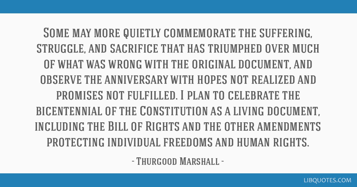 Some may more quietly commemorate the suffering, struggle, and sacrifice that has triumphed over much of what was wrong with the original document,...