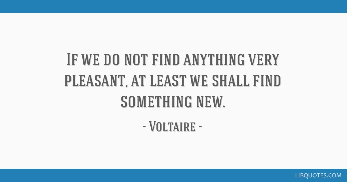 If we do not find anything very pleasant, at least we shall find something new.
