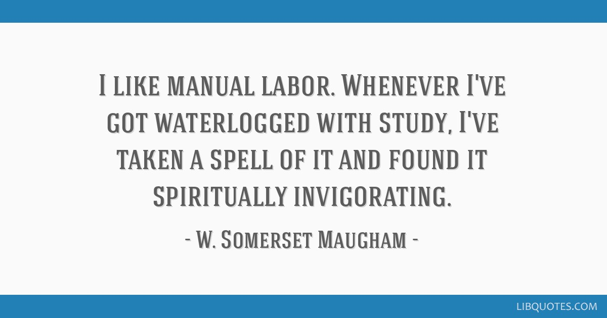 I like manual labor. Whenever I've got waterlogged with study, I've taken a spell of it and found it spiritually invigorating.