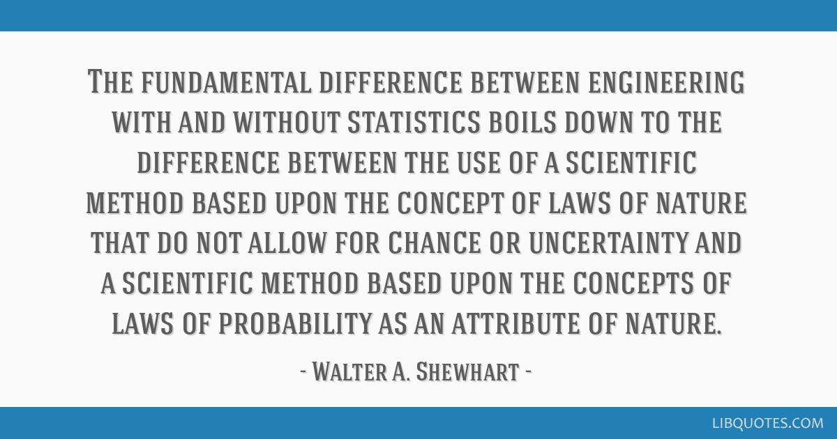 The fundamental difference between engineering with and without statistics boils down to the difference between the use of a scientific method based...