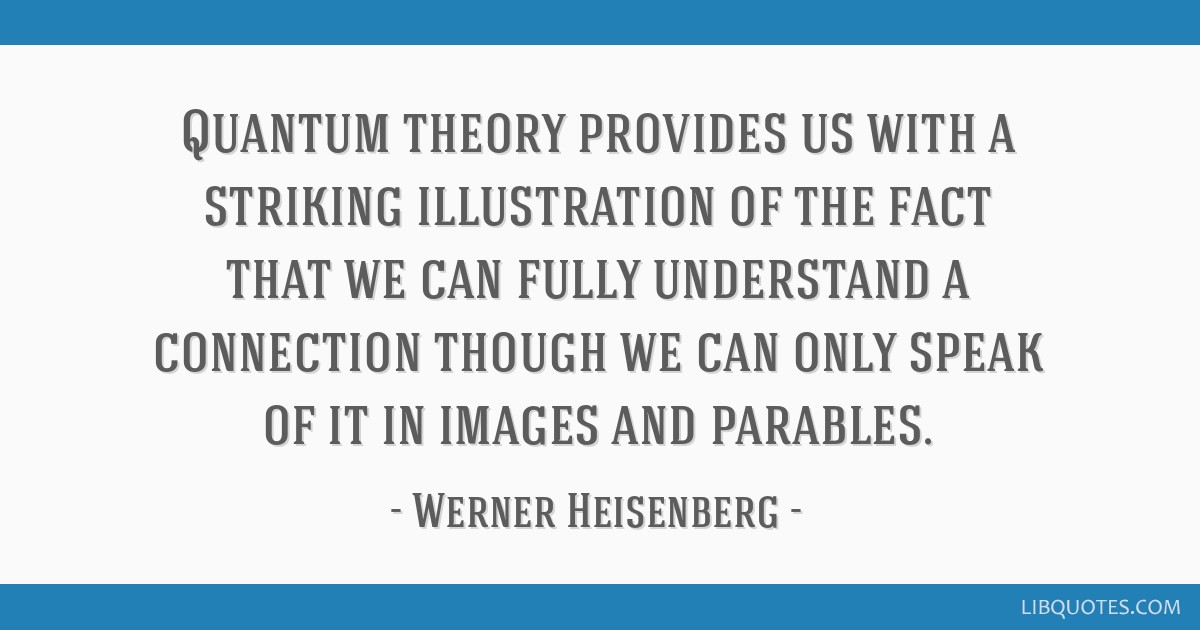 Quantum theory provides us with a striking illustration of the fact that we can fully understand a connection though we can only speak of it in...