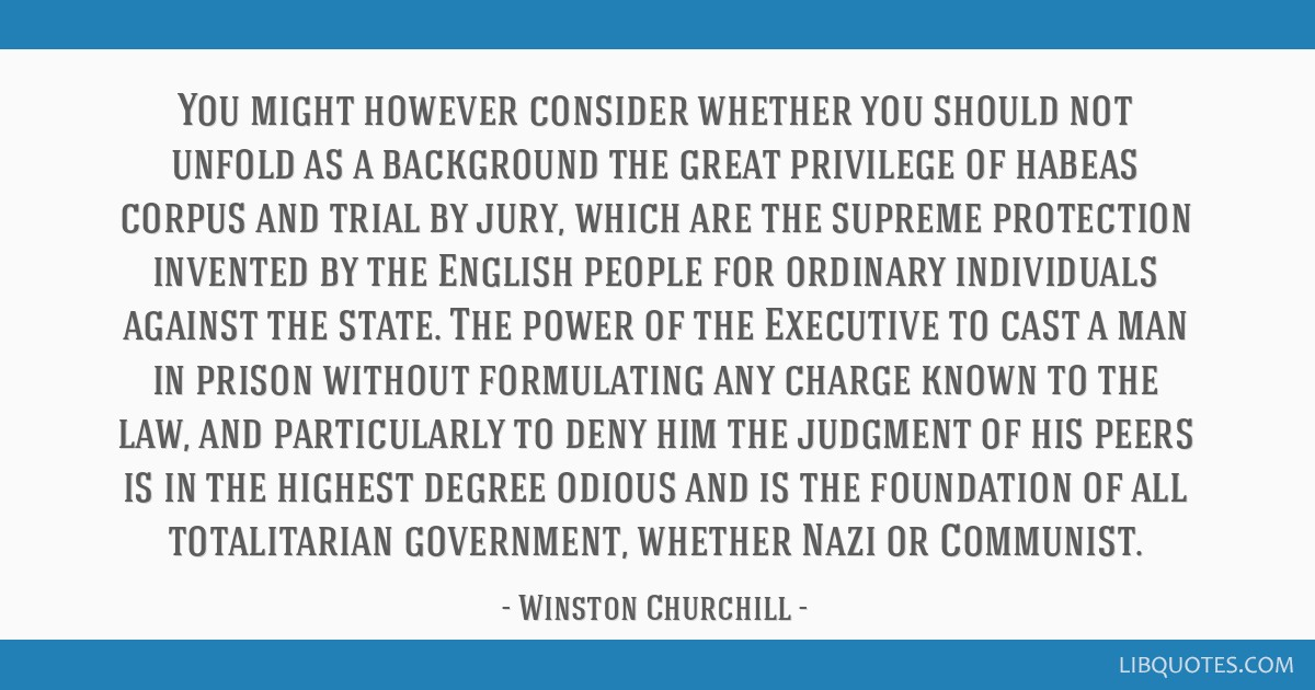 You might however consider whether you should not unfold as a background the great privilege of habeas corpus and trial by jury, which are the...